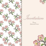 Beautiful floral invitation card with apple twig Royalty Free Stock Photos