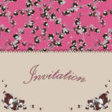 Beautiful floral invitation card with flowers Royalty Free Stock Images