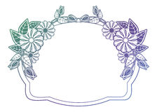 Beautiful floral label with gradient fill. Raster clip art. Royalty Free Stock Image
