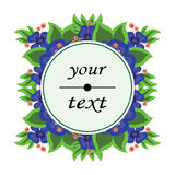 Beautiful floral label round shape Stock Images