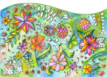 Beautiful floral lawn. Different summer flowers. Hand drawn picture. By colored pencils Royalty Free Stock Photos