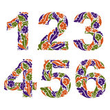 Beautiful floral numbers, decorative digits with vintage seasona Stock Photos