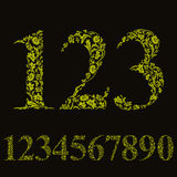 Beautiful floral numbers set, vector numerals. Royalty Free Stock Photos