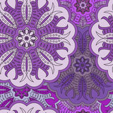 Beautiful floral oriental seamless pattern made of many mandalas.. Background in violet colors. Vector illustration in eastern style for card or textile Stock Image