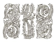 Beautiful  floral ornament for your business. Hand draw line art ornate flower design. Royalty Free Stock Image