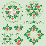 Beautiful floral ornaments with strawberries. Set of floral patterns with strawberries Royalty Free Stock Photography