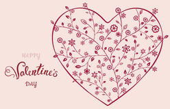 Beautiful floral ornate heart. Valentine card. Vector illustration EPS10 Royalty Free Stock Photography