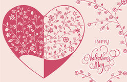Beautiful floral ornate heart. Valentine card. Vector illustration EPS10 Royalty Free Stock Photos