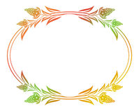 Beautiful floral oval frame with gradient fill. Color silhouette frame for advertisements, wedding and other invitations or greeting cards. Raster clip art vector illustration