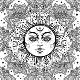 Beautiful floral paisley sun face pattern. Royalty Free Stock Image