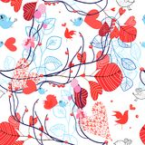 Beautiful floral pattern with birds Royalty Free Stock Photography