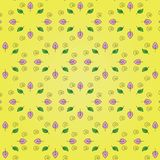 Beautiful floral pattern: pink and green leaves, black spiral on a bright yellow background. Stock Image