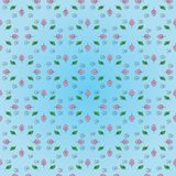 Beautiful floral pattern: pink and green leaves, black spiral on a gentle blue background. Stock Photography