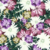 Beautiful floral pattern. Seamless pattern. Flowers. Bright buds, leaves, flowers. Flowers for greeting cards, posters, flyers. Stock Image