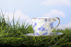 Beautiful floral patterned cup in grass Stock Photography