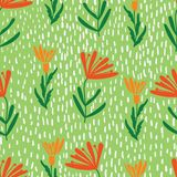 Beautiful floral print with dots repeating seamless pattern stock illustration