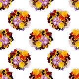 Beautiful floral seamless background with multi-colored pansies. Beautiful floral seamless pattern with bouquets of multi-colored pansies Stock Image