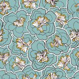 Beautiful floral seamless pattern. Garden blossom blue flowers. Vector illustration. Royalty Free Stock Photos