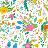 Beautiful floral seamless pattern in gentle colors. Bright illustration, can be used for creating card, invitation card Stock Photo