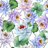 Beautiful floral seamless pattern. Large blue and purple lotus flowers with leaves on white background. Hand drawn illustration. vector illustration