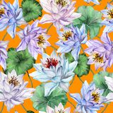 Beautiful floral seamless pattern. Large lotus flowers with stems and leaves on bright orange background. Hand drawn exotic illustration. Watercolor painting Stock Photos