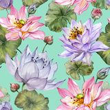 Beautiful floral seamless pattern. Large pink and purple lotus flowers with leaves on turquoise background. Hand drawn illustration. Watercolor painting stock illustration