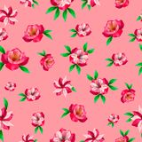 Beautiful floral seamless pattern on pink background vector illustration