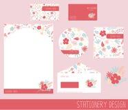 Beautiful floral stationery design set stock illustration