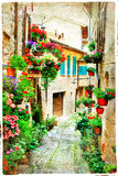Beautiful floral streets of Spello - medieval town in Umbria, It Stock Photography