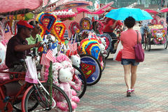 Beautiful Floral Trishaws in Melaka Royalty Free Stock Image