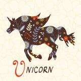 Beautiful floral unicorn horse Stock Images
