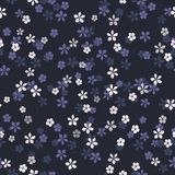 Small white, blue and purple flowers on navy blue background. vector illustration