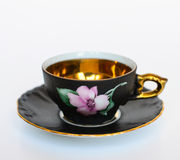 Beautiful floral vintage cup with plate isolated Stock Photo