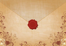Beautiful floral vintage envelope illustration Stock Photography