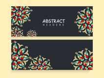 Beautiful floral website header or banner set. Royalty Free Stock Photos