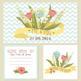Beautiful floral wedding invitation set Royalty Free Stock Image