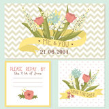 Beautiful floral wedding invitation set Royalty Free Stock Photo