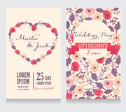 Beautiful floral wedding invitations. Hand drawn colorful flowers, vector illustration royalty free illustration