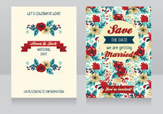 Beautiful floral wedding invitations. Hand drawn colorful flowers, vector illustration Royalty Free Stock Image