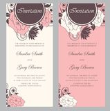 Beautiful floral wedding invitations Royalty Free Stock Photos