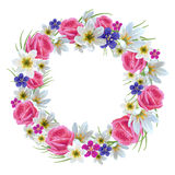 Beautiful floral wreath. On a white background. Template for greeting card, wedding invitations royalty free illustration