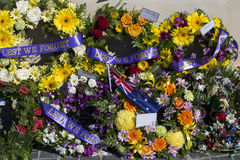 Beautiful Floral Wreaths on Anzac Day  in Bunbury Western Australia. Royalty Free Stock Photos