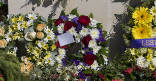 Beautiful Floral Wreaths on Anzac Day  in Bunbury Western Australia. Royalty Free Stock Photo