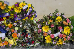 Beautiful Floral Wreaths on Anzac Day  in Bunbury Western Australia. Stock Images