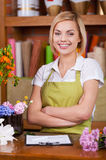 Beautiful florist at work. Royalty Free Stock Photos