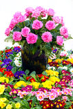 Beautiful floristic composition. Pink roses in the vase Royalty Free Stock Images