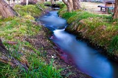 Beautiful flow of water or stream taken with minimum shutter speeds in a campsite in northern Argentina. Close-up of a common stream showing in its best radiance stock photo