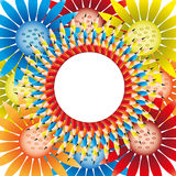 Beautiful flower. The beautiful flower from circle pencil and background colorful flowers Royalty Free Stock Photo