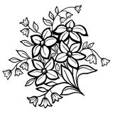 Flower arrangement, a black outline on a white background Stock Photo
