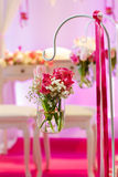 Beautiful flower arrangement in white and pink for wedding or ev Royalty Free Stock Photography